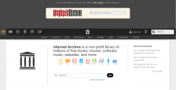 Screenshot of Internet Archive homepage.