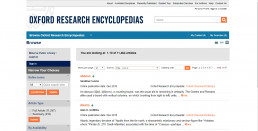 Screenshot of Oxford Research Encyclopedias homepage.