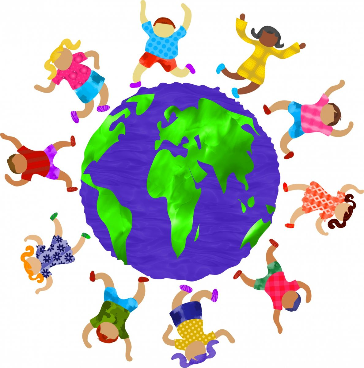 Children of all races and genders dance around a globe.